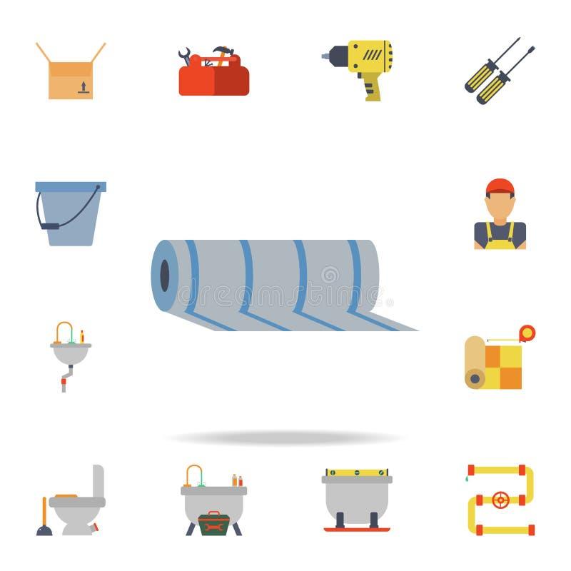 ícone do linóleo da cor Grupo detalhado de ferramentas da construção da cor Projeto gráfico superior Um dos ícones da coleção par ilustração do vetor