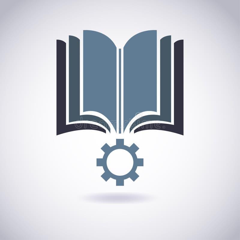 Ícone do livro com roda denteada. ilustração royalty free
