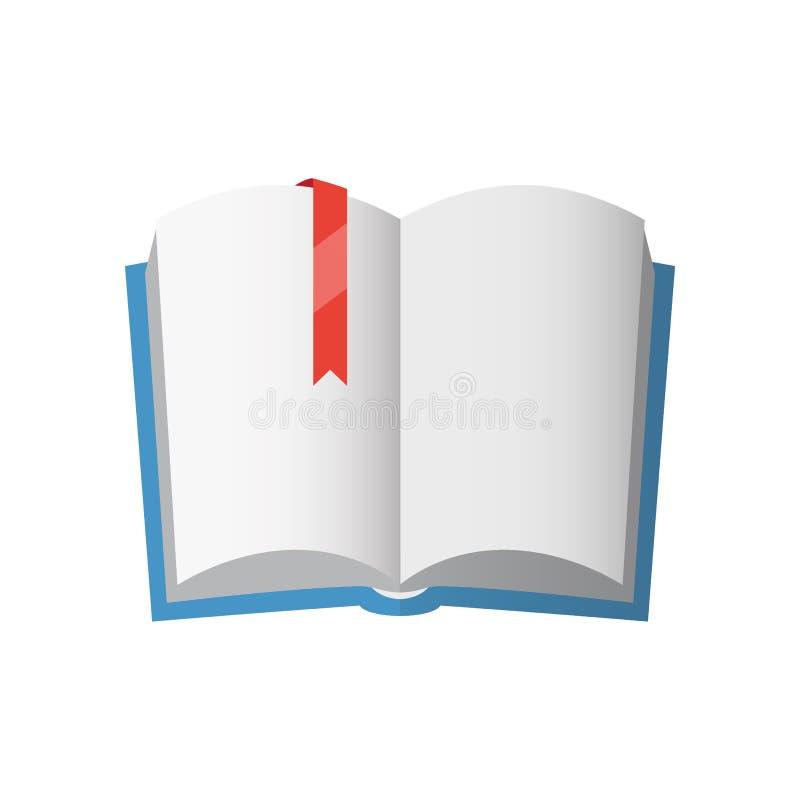 Ícone do livro de texto aberto com marcador vermelho ilustração royalty free