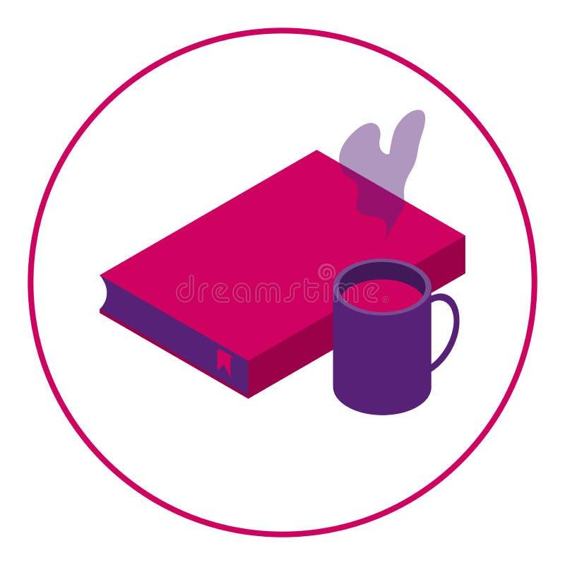 Ícone do livro e da bebida quente Leitura com uma bebida Leitor e café do ícone ilustração royalty free