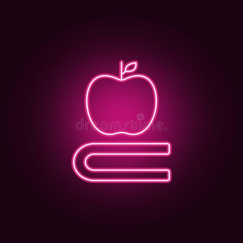 Ícone do livro e da maçã Elementos dos livros e dos compartimentos nos ícones de néon do estilo Ícone simples para Web site, desi ilustração royalty free
