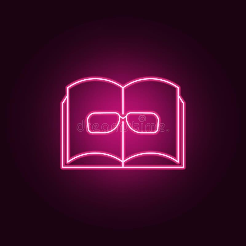 Ícone do livro e dos vidros Elementos dos livros e dos compartimentos nos ícones de néon do estilo Ícone simples para Web site, d ilustração royalty free
