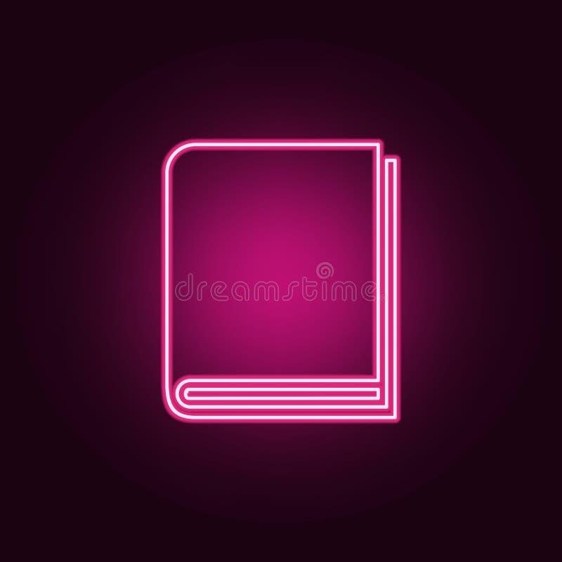 Ícone do livro Elementos dos livros e dos compartimentos nos ícones de néon do estilo Ícone simples para Web site, design web, ap ilustração stock