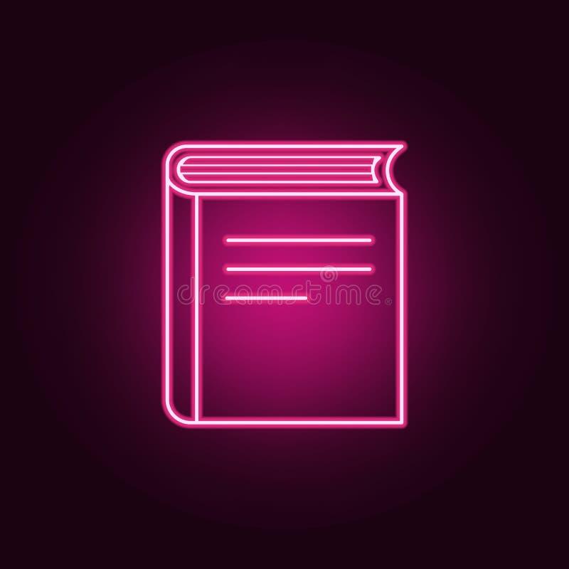 Ícone do livro Elementos dos livros e dos compartimentos nos ícones de néon do estilo Ícone simples para Web site, design web, ap ilustração do vetor
