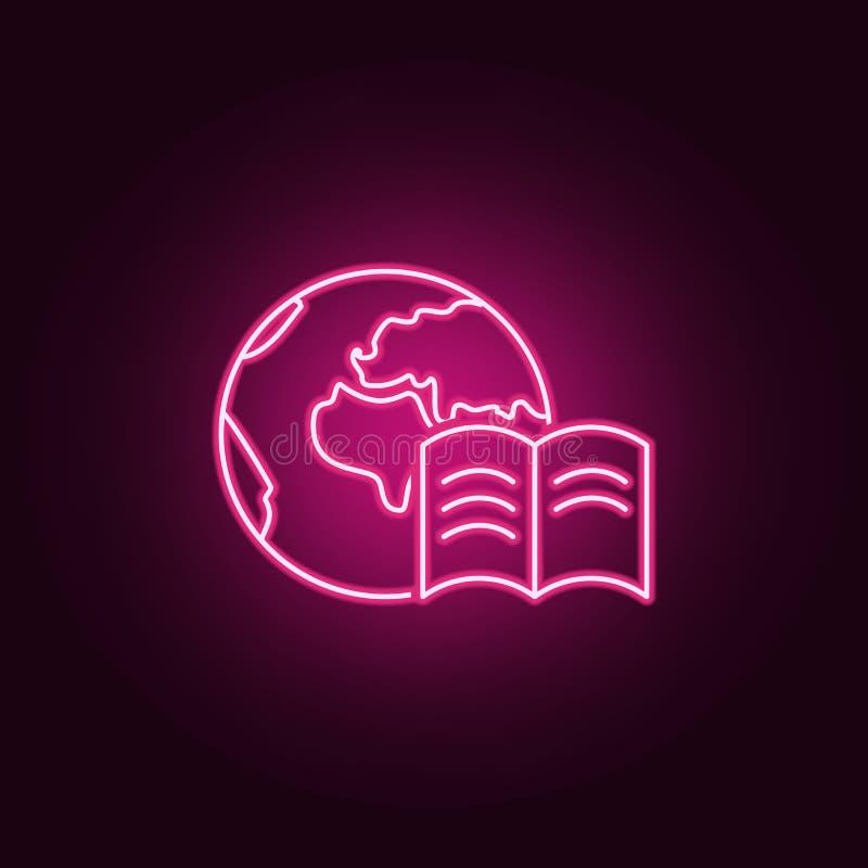 Ícone do livro do mundo Elementos dos livros e dos compartimentos nos ícones de néon do estilo Ícone simples para Web site, desig ilustração do vetor