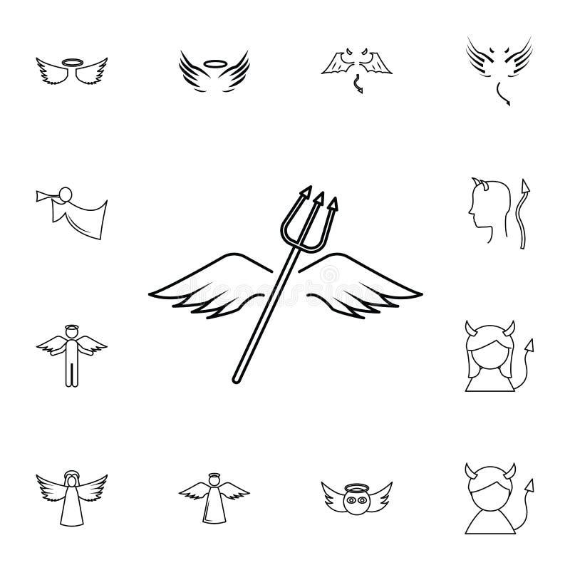 Ícone do lne das asas e dos chifres O grupo simples de anjo e de demônio relacionou ícones do esboço Elementos para apps móveis d ilustração stock