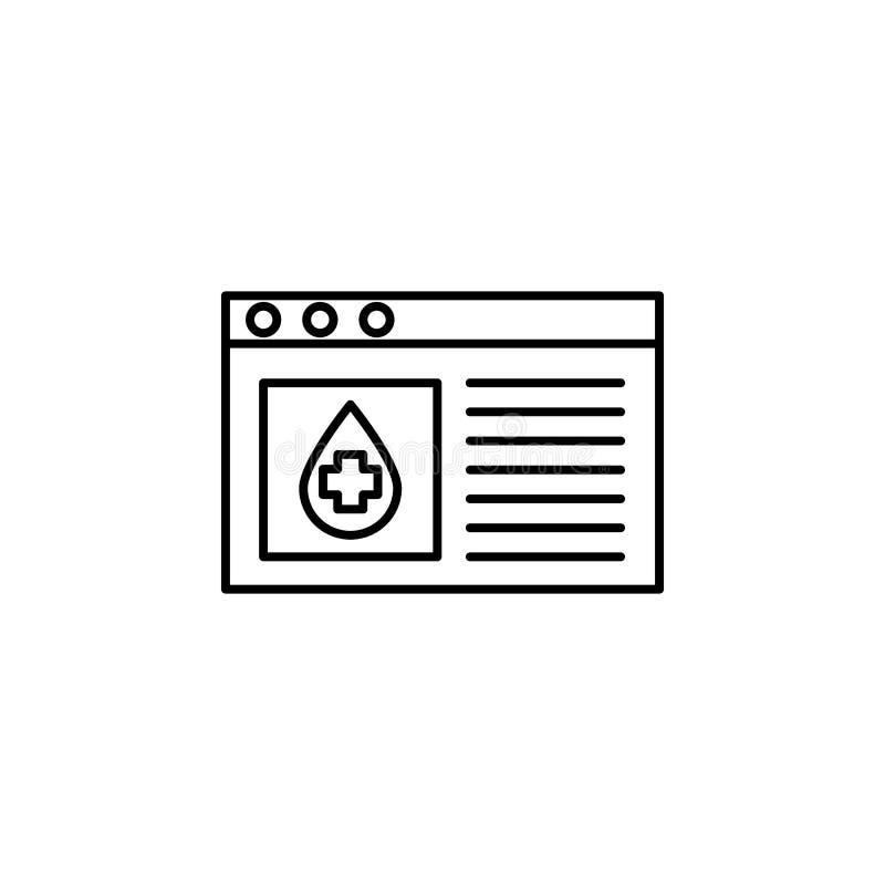 ícone do local da doação de sangue Elemento da doação de sangue para a ilustração móvel dos apps do conceito e da Web Linha fina  ilustração stock