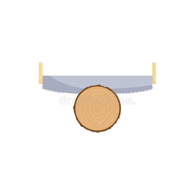 Ícone do log dos cortes da serra, estilo dos desenhos animados ilustração do vetor