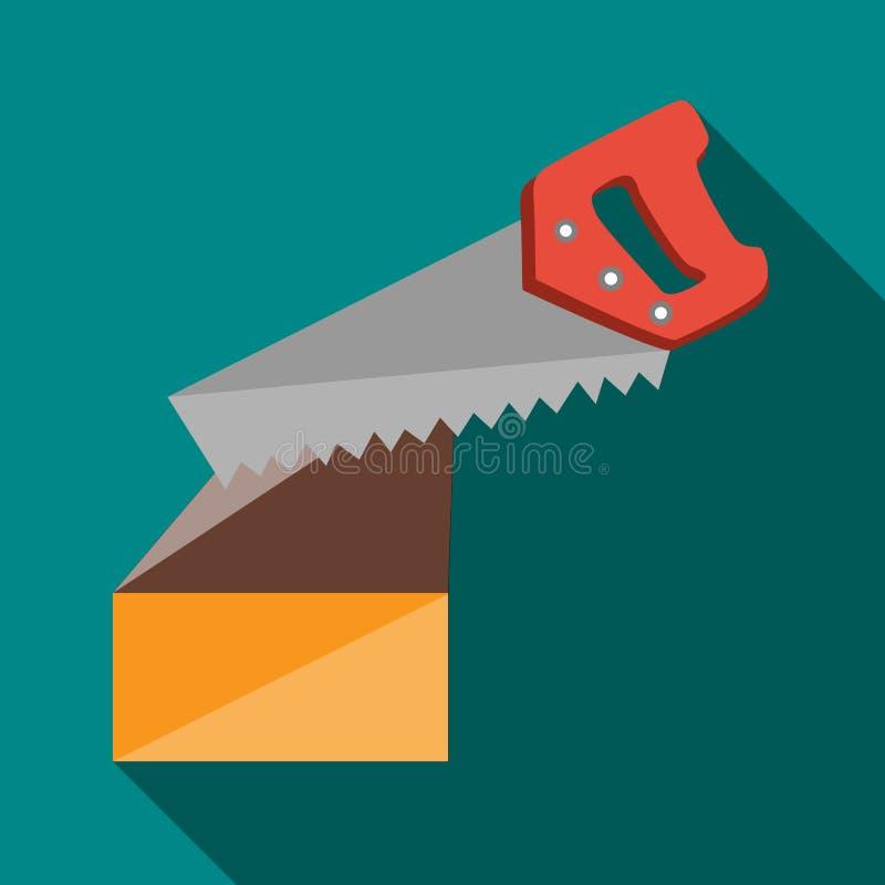 Ícone do log dos cortes da serra, estilo liso ilustração do vetor
