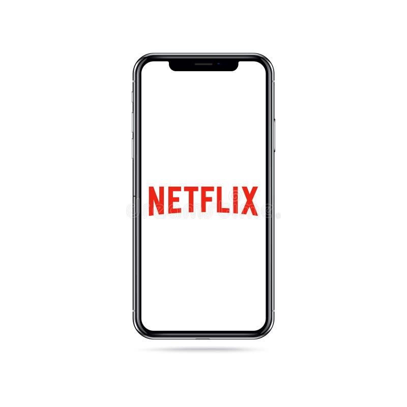 Ícone do logotipo do app de Netflix na tela do iphone ilustração royalty free