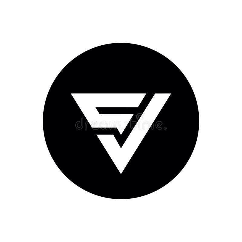 Ícone do logotipo Carta CV ou VC, Design da forma de triângulo e círculo, Preto e Branco - Vetor ilustração do vetor