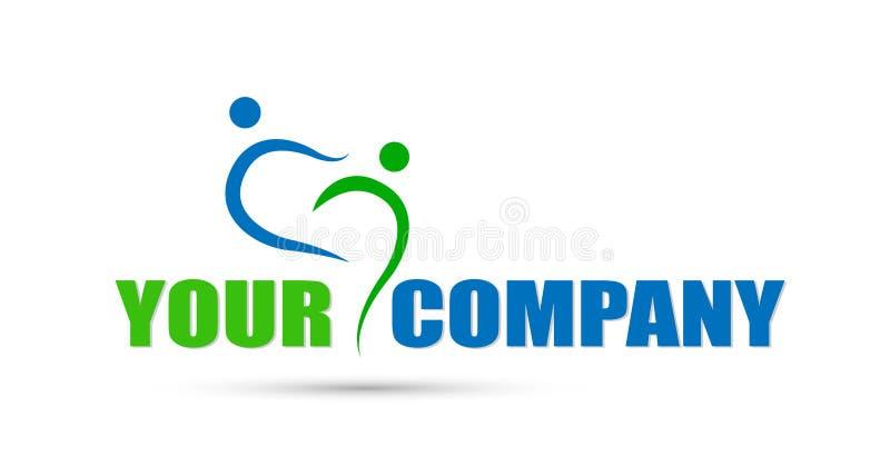 Ícone do logotipo do conceito dos trabalhos de equipa do negócio do conceito da união dos povos para a empresa no fundo branco ilustração do vetor