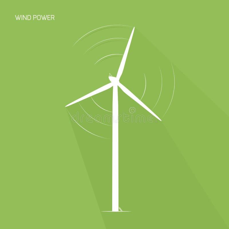 Ícone do logotipo da energia do verde da torre da turbina eólica ilustração do vetor