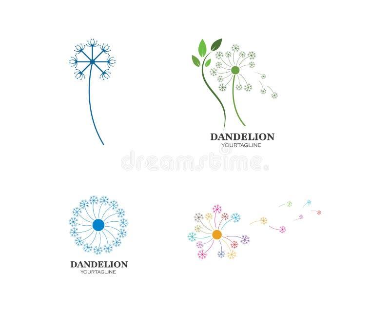 ícone do logotipo da flor do dente-de-leão ilustração do vetor