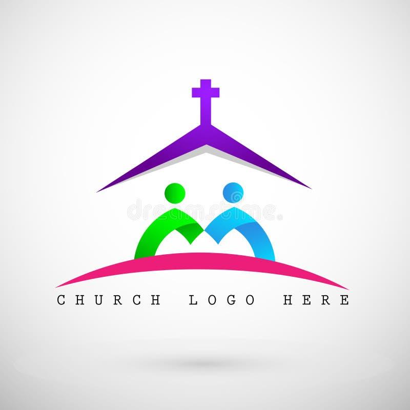 Ícone do logotipo da igreja para povos ilustração stock
