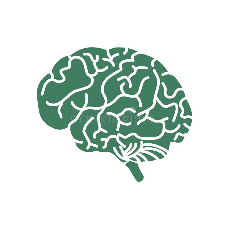 Ícone do logotipo da ilustração do cérebro ilustração do vetor