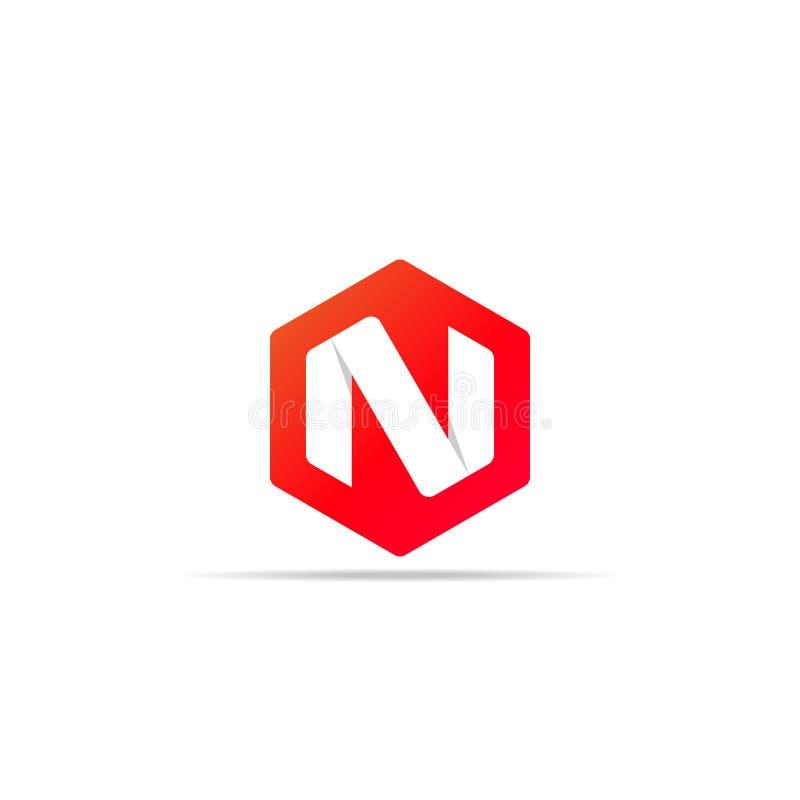 Ícone do logotipo da letra N no projeto de conceito sextavado da forma do polígono elemento incorporado do molde do logotipo do n ilustração royalty free