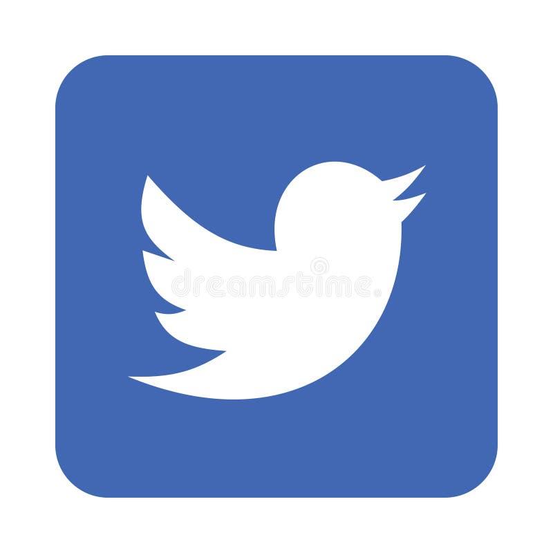 Ícone do logotipo de Twitter ilustração stock