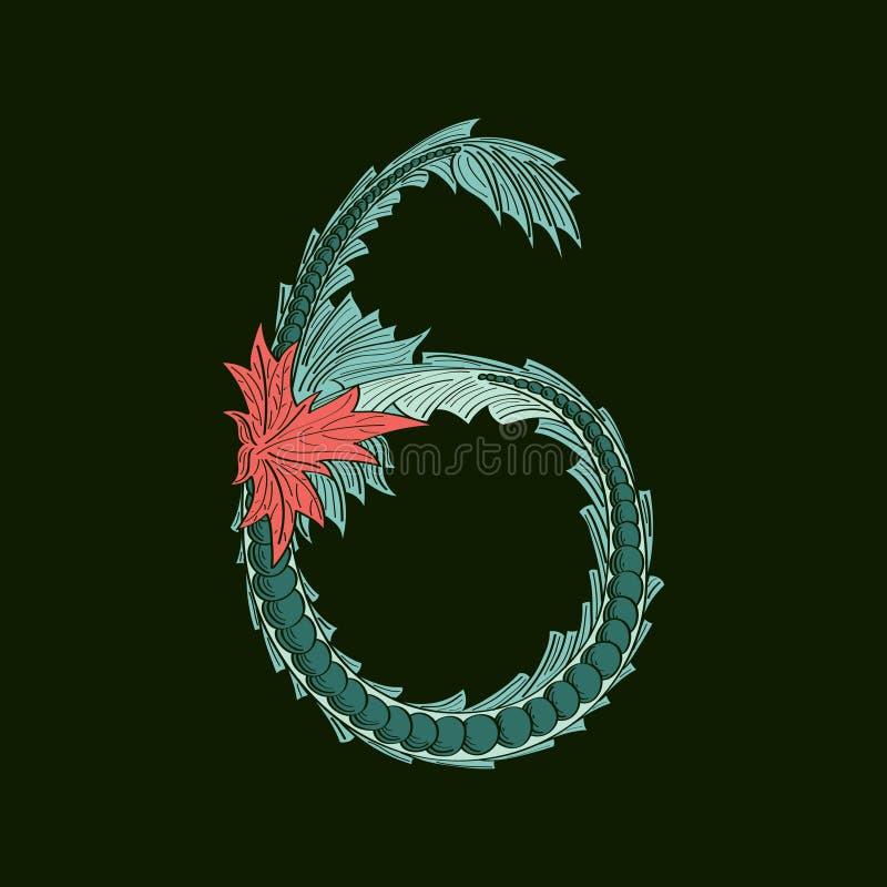 Ícone do logotipo do número abstrato 6 no estilo tropical azul ilustração stock