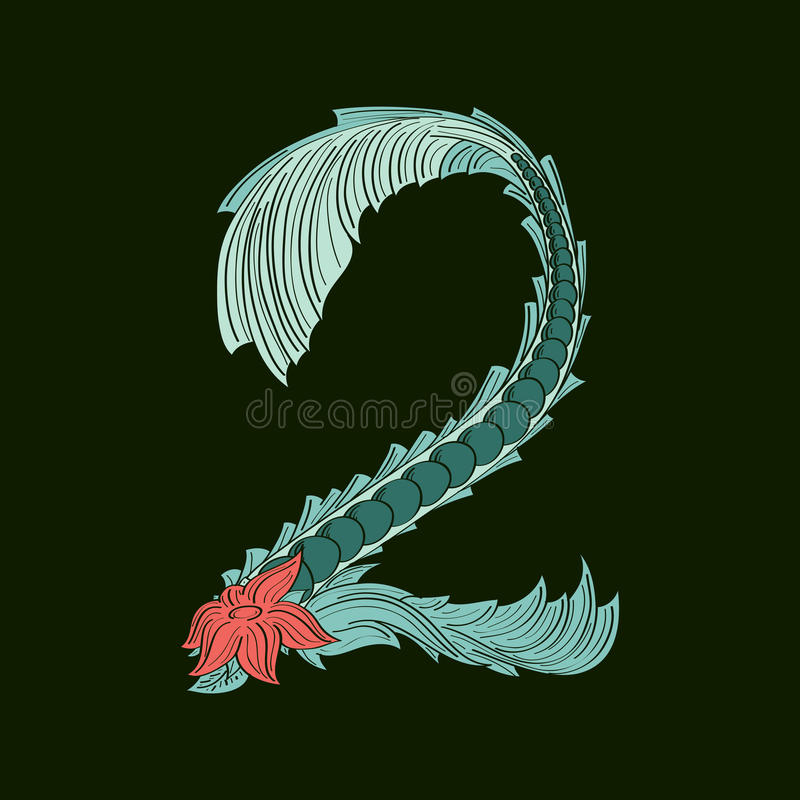 Ícone do logotipo do número abstrato 2 no estilo tropical azul ilustração royalty free