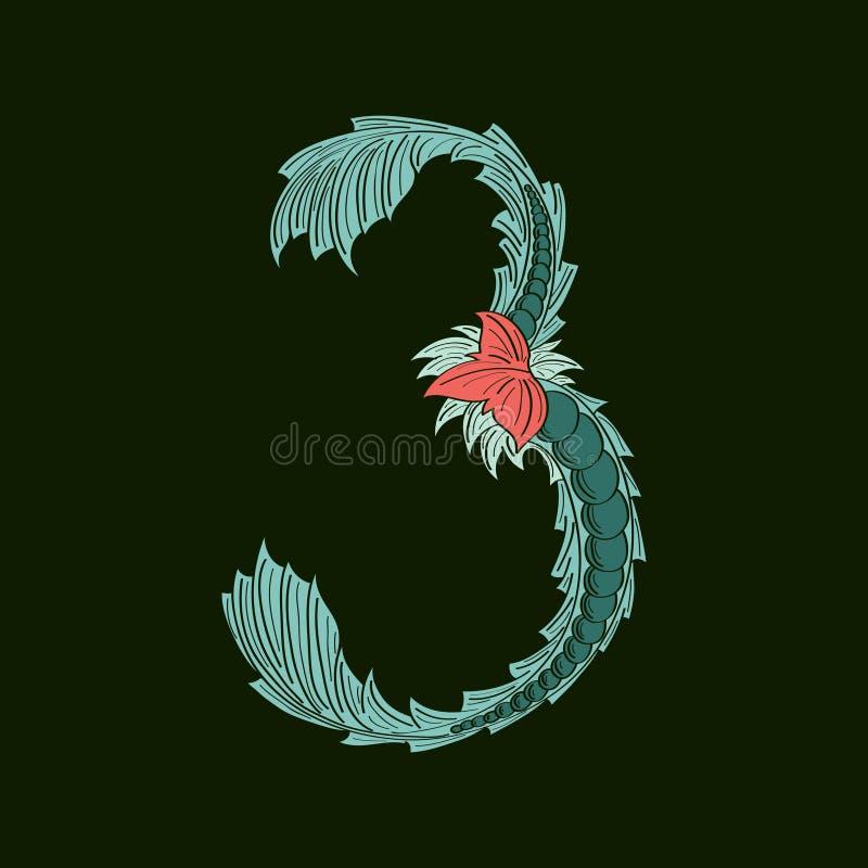 Ícone do logotipo do número abstrato 3 no estilo tropical azul ilustração do vetor
