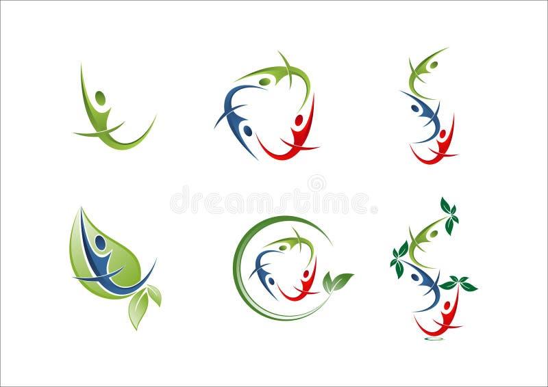 Ícone do logotipo do sócio da equipe do grupo dos povos ilustração stock