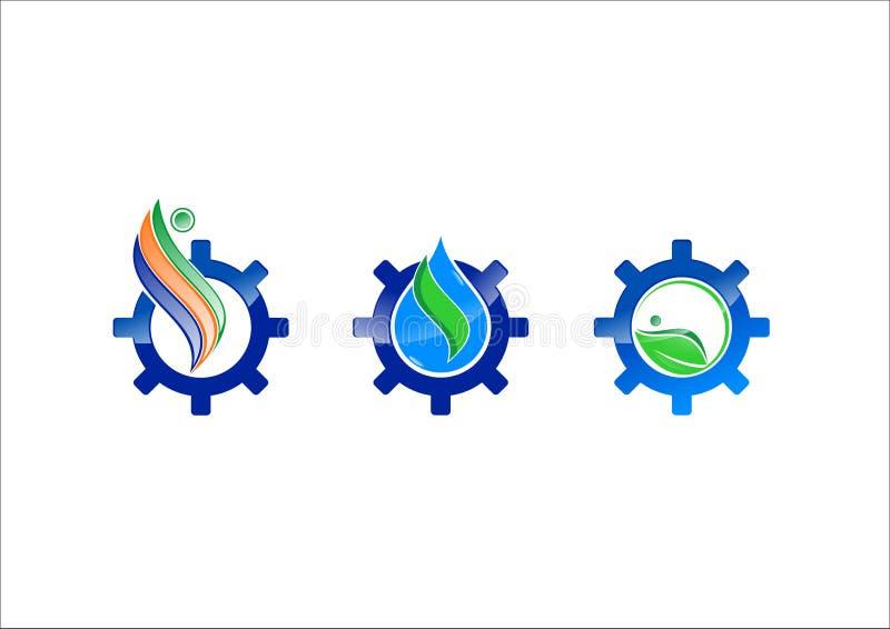 Ícone do logotipo do vetor da engrenagem da ecologia da água ilustração royalty free