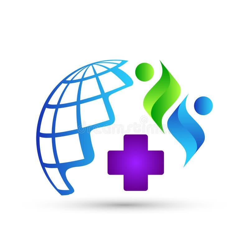 Ícone do logotipo dos povos dos cuidados médicos do globo no fundo branco ilustração stock