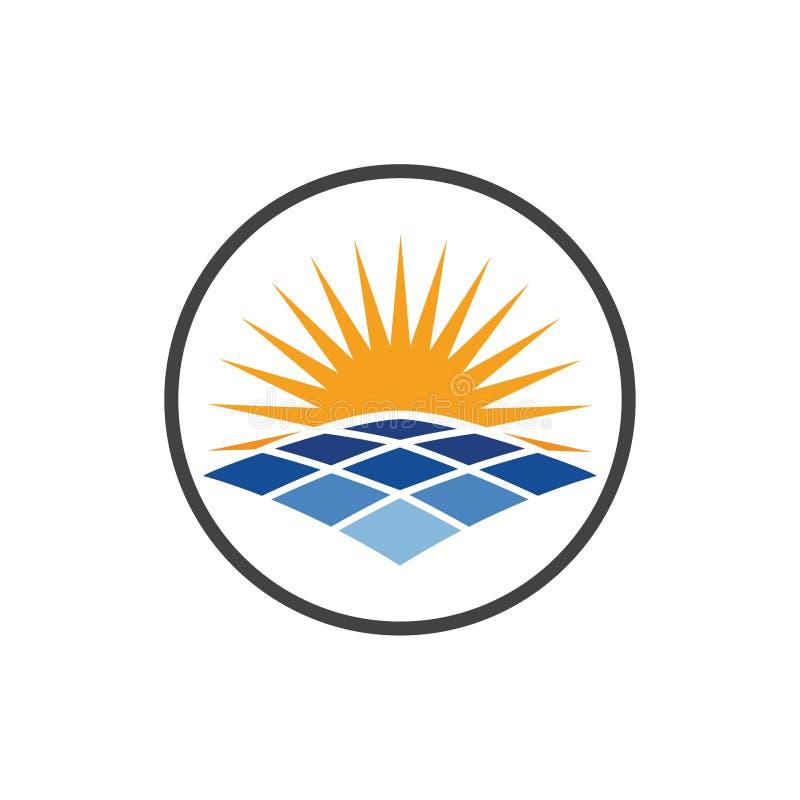 Ícone do Logotipo Energia Solar, modelo de design de vetor do ícone Sunrise, símbolo de verão, Ícone do Logotipo do Painel Solar, ilustração stock