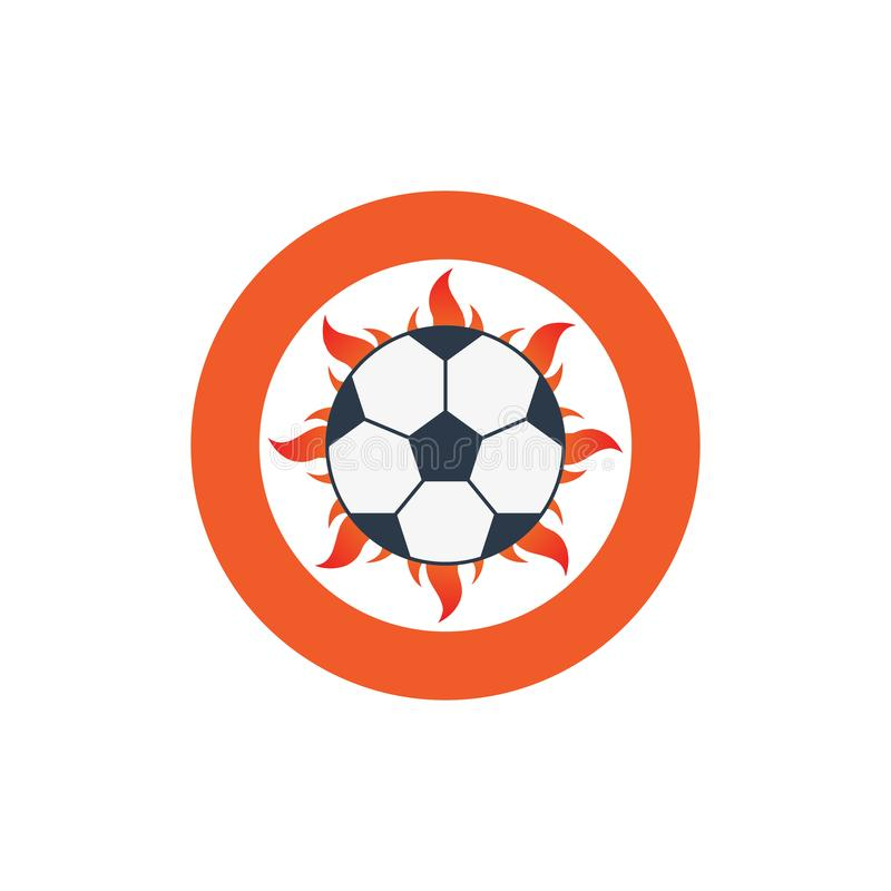 Ícone do logotipo do futebol da ilustração do vetor com fogo e bola ilustração do vetor