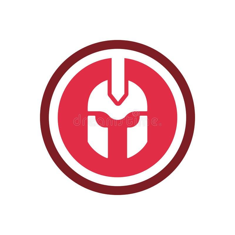 Ícone do logotipo Gladiator ou espartano, símbolo de forma em círculo vermelho, desenho de ilustração vetorial ilustração royalty free