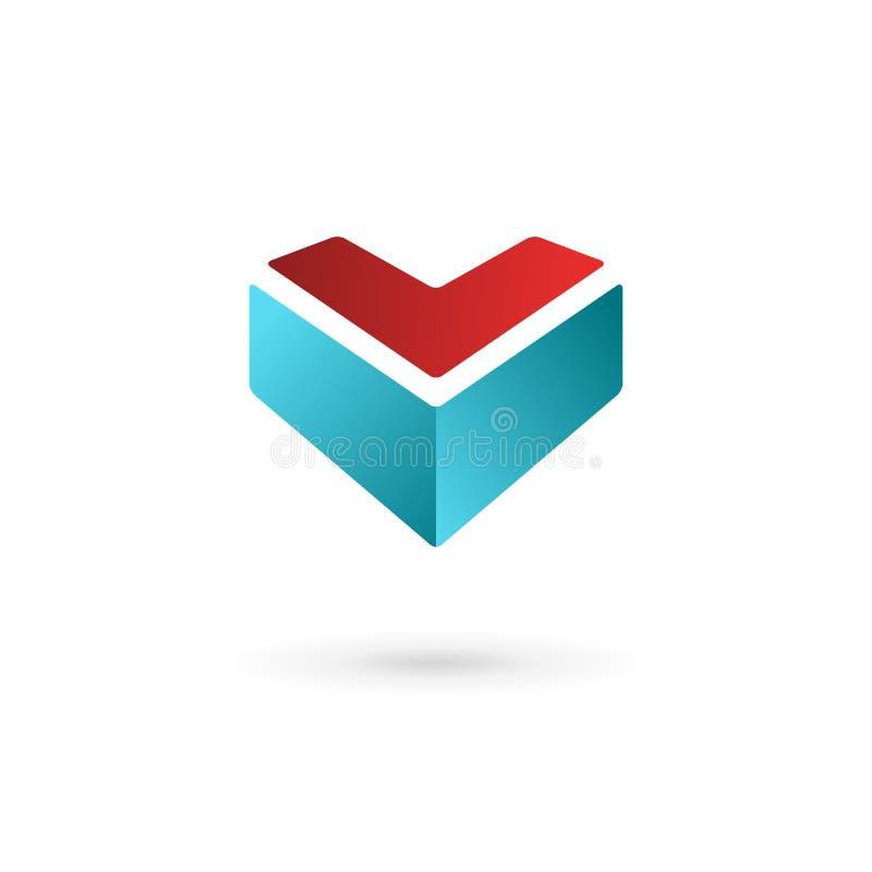 Ícone do logotipo do molde do projeto de negócio com letra V e coração ilustração royalty free