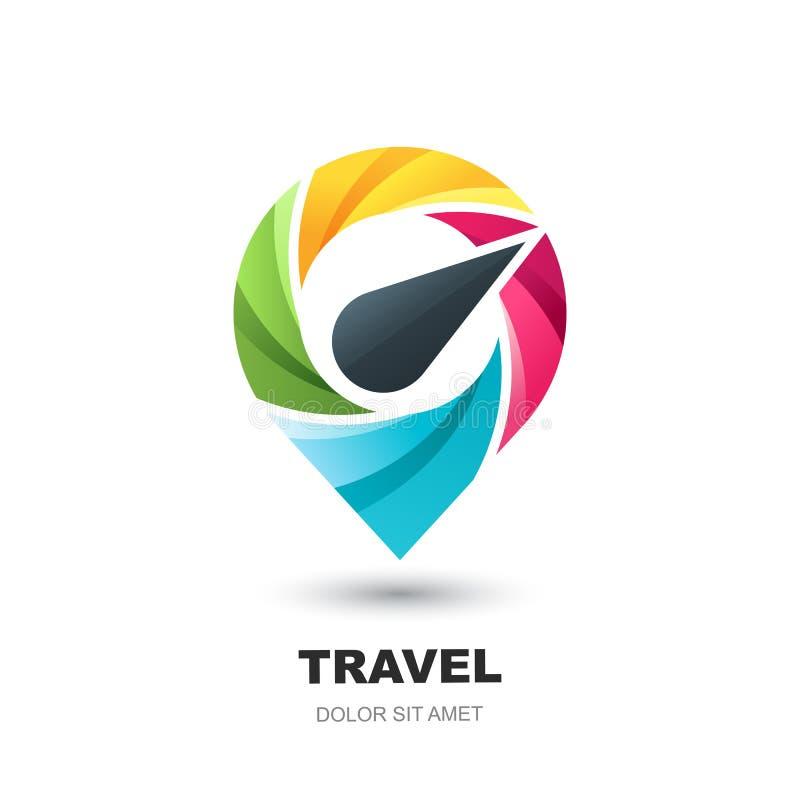 Ícone do logotipo do vetor com o mapa do pino do compasso Marcador do lugar do ponto de Geo Conceito para o negócio das férias, d ilustração stock