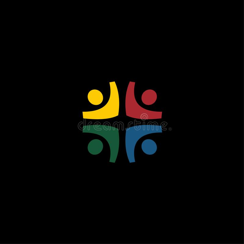 Ícone do logotipo do vetor da comunidade dos povos ilustração stock