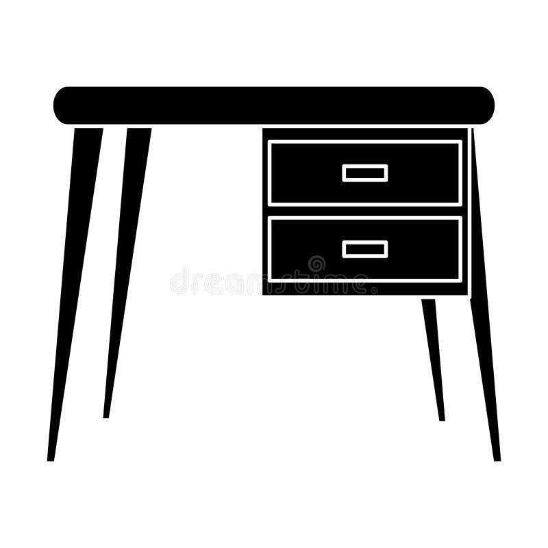 Ícone do lugar de trabalho do escritório da mesa da silhueta ilustração royalty free