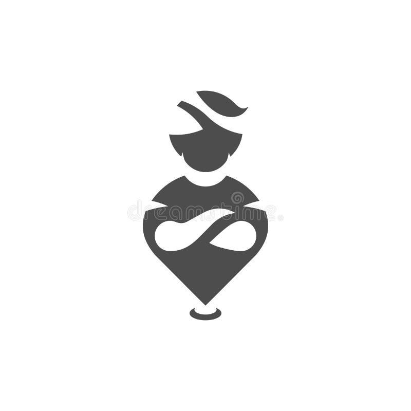 Ícone do lugar, símbolo de uma comunicação e da entrega Ícone de Aladdin, símbolo liso dos gênios Ilustração do vetor ilustração do vetor