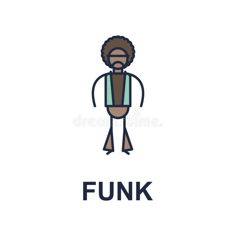 ícone do músico do funk Elemento do ícone do estilo da música para apps móveis do conceito e da Web O ícone colorido do estilo da ilustração stock