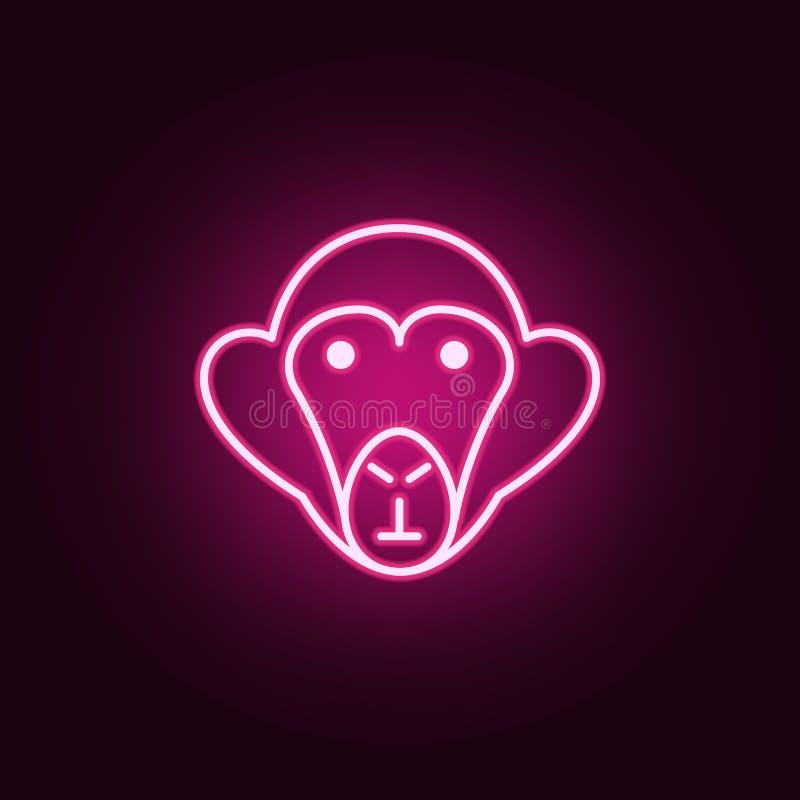 Ícone do macaco Elementos do estudo de Scientifics nos ícones de néon do estilo Ícone simples para Web site, design web, app móve ilustração royalty free