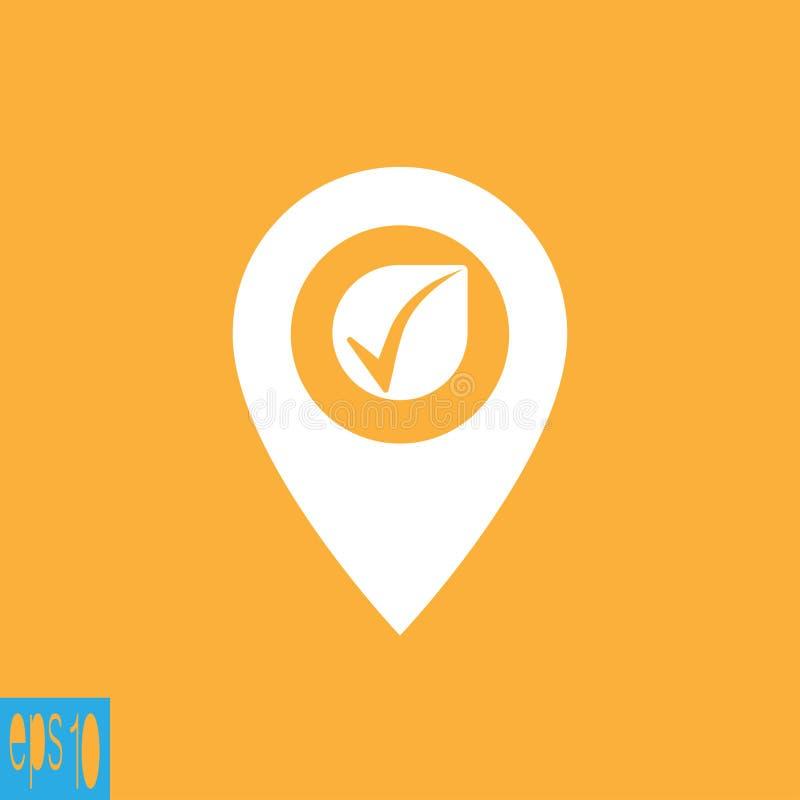 Ícone do mapa com ícone da verificação, sinal - ilustração do vetor ilustração stock