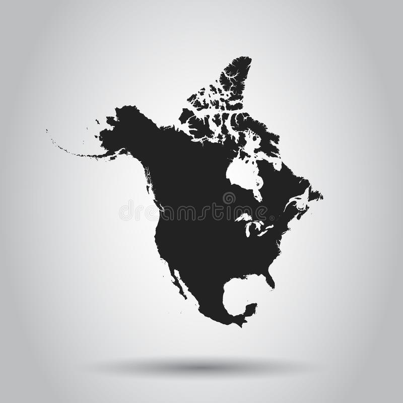 Ícone do mapa de America do Norte Ilustração lisa do vetor America do Norte ilustração stock
