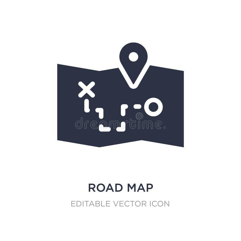 ícone do mapa de estradas no fundo branco Ilustração simples do elemento do conceito do curso ilustração stock