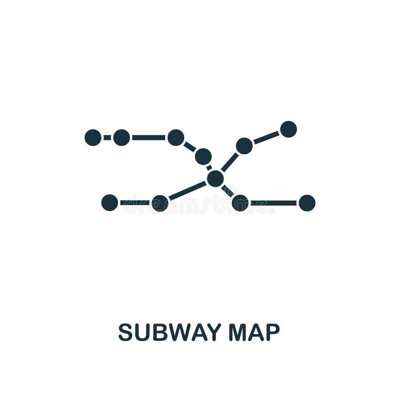 Ícone do mapa do metro Projeto superior do estilo da coleção do ícone do transporte público UI e UX Ícone perfeito do mapa do met ilustração do vetor