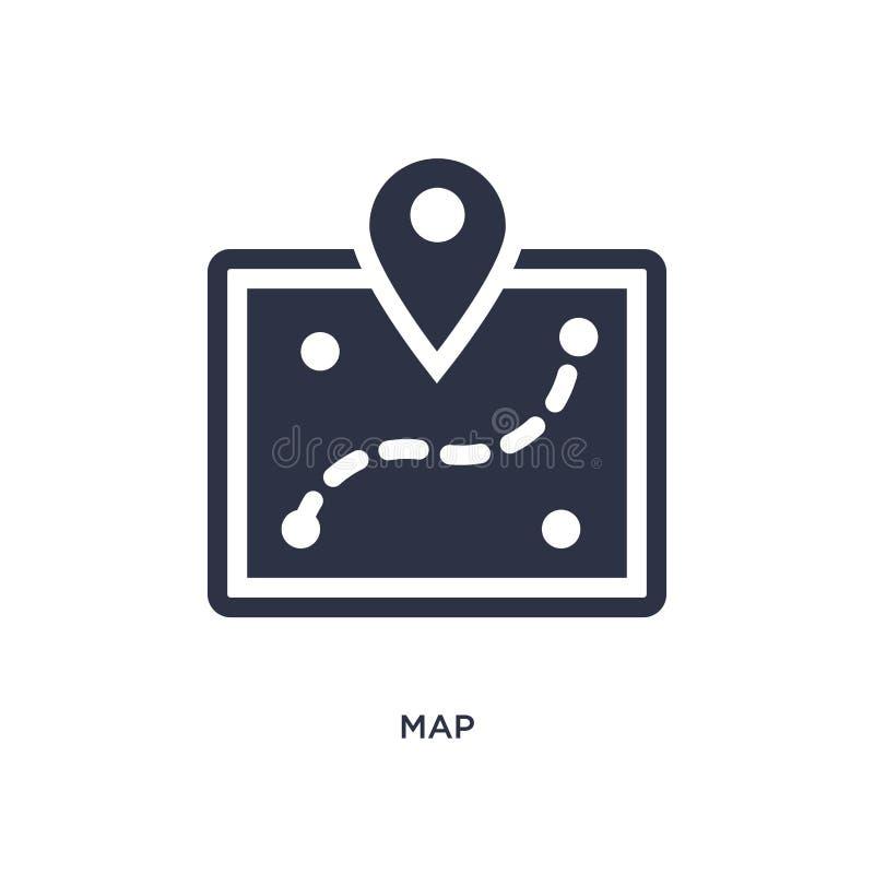 Ícone do mapa no fundo branco Ilustração simples do elemento do conceito de acampamento ilustração do vetor