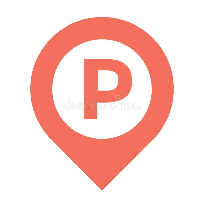 Ícone do marcador do mapa, compasso, lugar do pino do vetor, ícone dos gps, carro de estacionamento, suporte do lugar ilustração royalty free