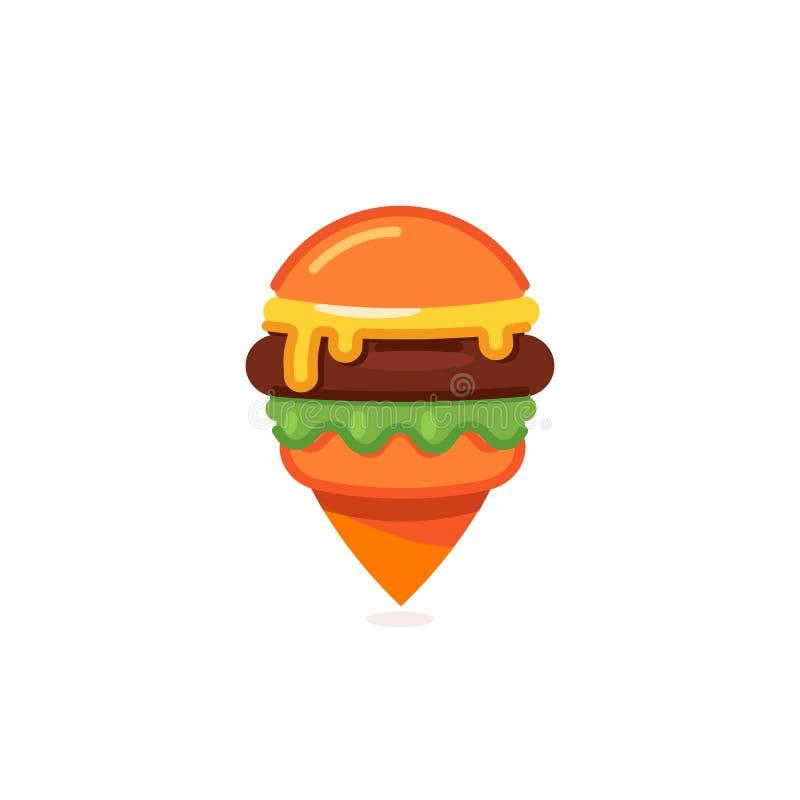 Ícone do marcador do mapa do fast food, molde do logotipo do pino do restaurante do hamburguer, ilustração do vetor do cheeseburg ilustração royalty free