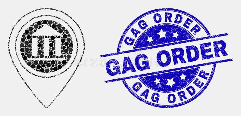 Ícone do marcador do mapa do museu do pixel do vetor e selo riscado da ordem de mordaça ilustração royalty free