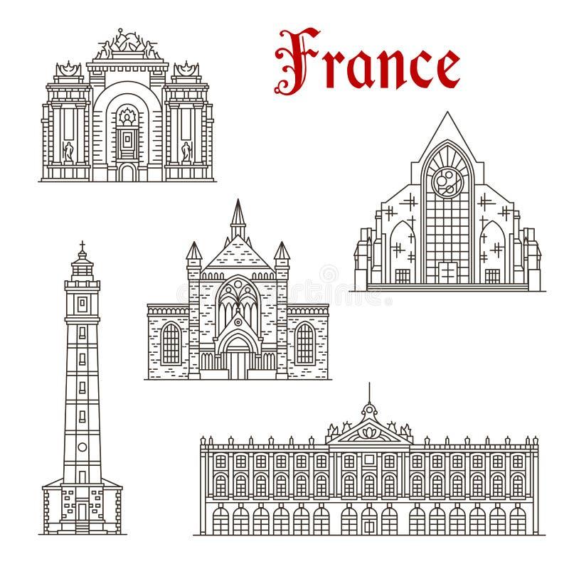 Ícone do marco do curso do francês da arquitetura linear ilustração do vetor