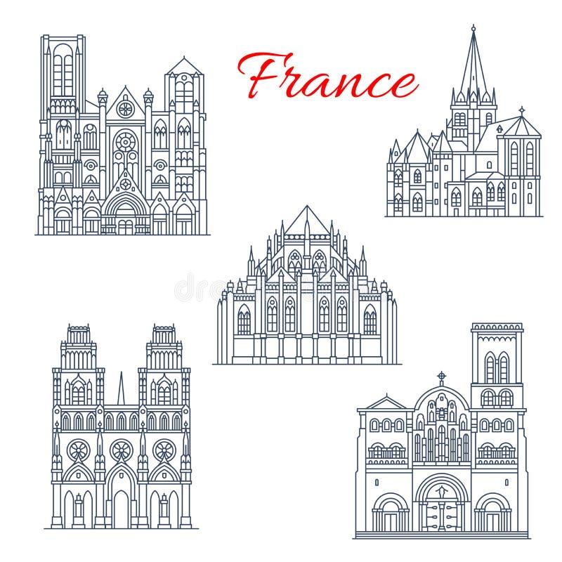 Ícone do marco do curso do francês da catedral famosa ilustração royalty free