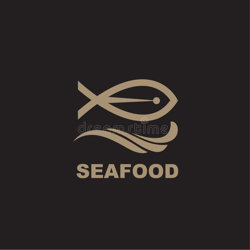Ícone do marisco com peixes ilustração stock