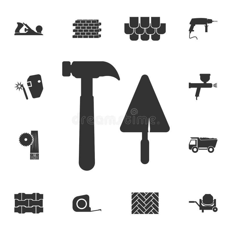 Ícone do martelo da espátula Grupo detalhado de ícones dos materiais de construção Projeto gráfico da qualidade superior Um dos í ilustração do vetor